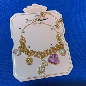 Juicy Couture Jewelry - Juicy Couture Gold-Tone Logo Charm Slider Bracelet